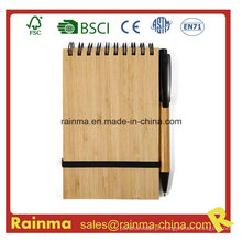 A6 Spiral Bamboo Notebook com Eco Pen