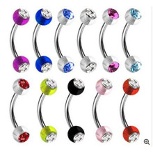 Acrylic Balls CZ Gems Curved Eyebrow Ring