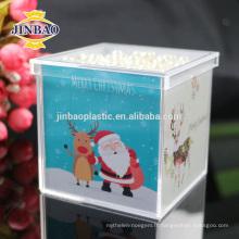 Les fournisseurs de JINBAO ont fait sur commande la boîte acrylique transparente de présentation de sucrerie avec le logo d'impression