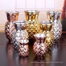 Fashion 950ml electroplating silver color glass flower vase for decoration