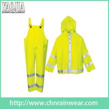 Yj-6047 Embalaje verde amarillo motocicleta seguridad lluvia abrigo chaqueta abrigo