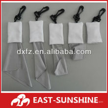 microfiber cleaning cloth for electronic products with a key-chain/button