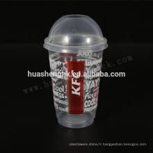 Tasses jetables en plastique claires de smoothie de la catégorie comestible 16oz / 480ml de qualité comestible avec des couvercles pour la vente en gros