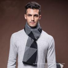 Écharpe tissée tricotée acrylique en nylon de laine d'hiver chaud des hommes (YKY4607)