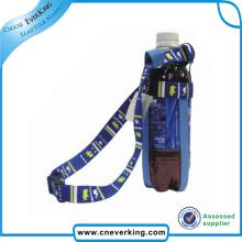Пользовательский цветной полиэфирный шейный ремешок с держателем для бутылок