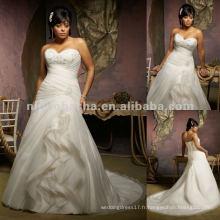 NY-2415 Broderie perlée sur robe de mariée Organza