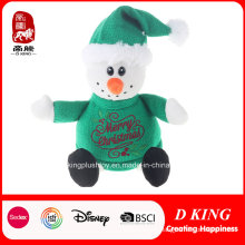 Christmas Gifts Plush Snowman Toys with Green Sweater