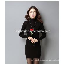 Las mujeres de moda vestido de cable de punto apretado suéter largo señoras jersey suéter delgado