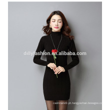 Moda mulheres vestido cabo malha comprida comprida suéter camisola suéter fino fino
