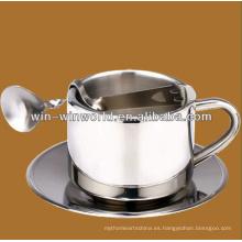 Taza de café de acero inoxidable de alta calidad con cuchara