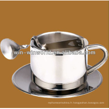 Tasse de café en acier inoxydable de haute qualité avec cuillère