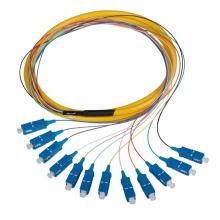 0.9mm 2.0mm 3.0mm PC del lc 12 trenzas ópticas de la fibra del fanout del núcleo, om3 sc apc fibra óptica coleta