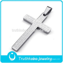 2016 New Design Online High Quality 316L Stainless Steel Silver Bible Verse Cross Pendant with The Lord's Prayer