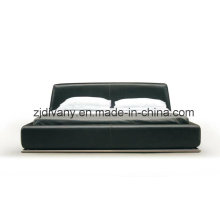 Modern Black Leather Double Bed (A-B26)