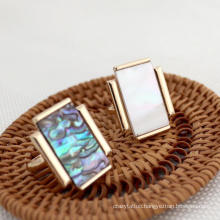 Hot Sale Trendy Statement Gold Plated Colorful Rectangle Natural Shell Ring Women Party Rectangle Paved Rings