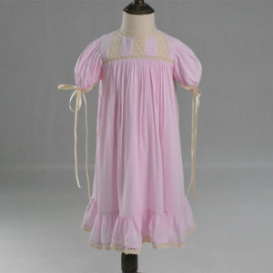 Cap Sleeve Viscose Girls Pink Heirloom Dress
