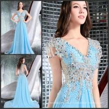 Vestidos de noite formal Vestidos Sexy V-neck Plissado Applique Beaded Sequin Luxo Evening Party Dresses 2016 Custom Made ML156