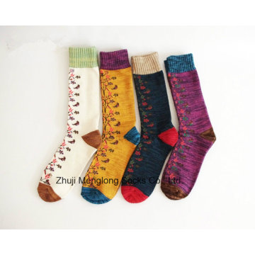 Chinese Style Full Flower Good Quality Lady Cotton Socks