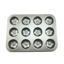 12 Cups Non-stick Flower Muffin Pan Tray