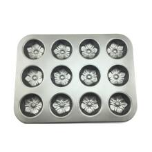 Bandeja de pan de muffin antiaderente de 12 copos