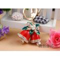 Cute and creative Christmas Bell enamel rhinestones key chain crystal metal keyring 3D bell bag hanger women gifts