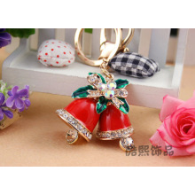 Cute and creative Christmas Bell enamel rhinestones key chain crystal metal keyring 3D bell bag hanger women gifts
