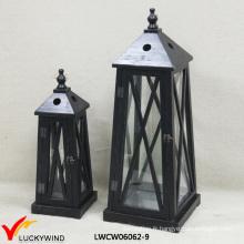 2 Set antique lanterne à bougie en bois moulé