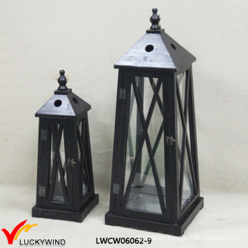 2 Set Antique Cast Wood Candle Lantern