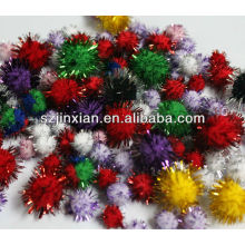 gift pompons with glitter threads