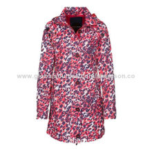 Women's waterproof coat, mid-length, made of 100% polyester, do not tumble dry