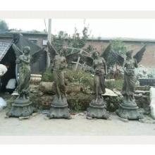 Estatua de bronce de fundición de metal de estilo griego parque al aire libre cuatro estaciones para la venta estatua de figura femenina occidental con alas