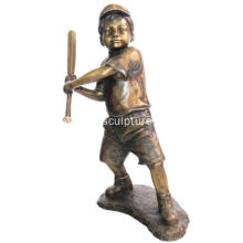 Bronze Baseball Boy Statue for Garden Decoration