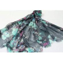Ladies hair scarf palestine foulard blue flower print hijab scarf