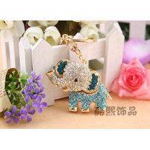 Creative pendant bag hanging accessories crystal elephant Keychain full rhinestone cute elephant key ring best friend gifts