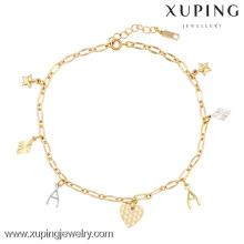 Prix de cheville en or 73846-xuping, bijoux de pied, bracelet de cheville en or jaune