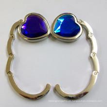 Coração forma plegável metal saco gancho com diamante de cristal (f2006b)