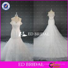 ЭД Свадебные элегантный off плечо Sexy sheer вернуться бисера тюль Русалка свадебное платье с длинным шлейфом