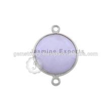 Connecteurs en lunette gemme semi-précieuse en argent 925 fabriqués à la main