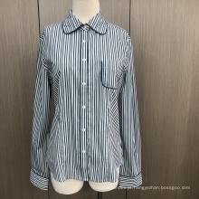 Camisa feminina de manga longa spandex tingida com fio