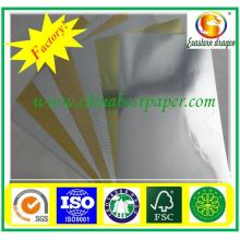 350GSM gold paper metalized shiny gold foil cardboard