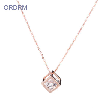 Rose Gold Mom Cage Pendant Necklace Với Birthstones