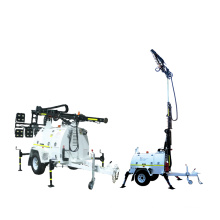 Trailer solar mobile led light tower with 6x100w LED lamp