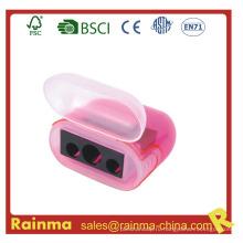 Розовый три отверстия безопасности точилка для карандашей