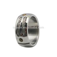 Homens 316L aço inoxidável significativa anéis com cabo e rebites