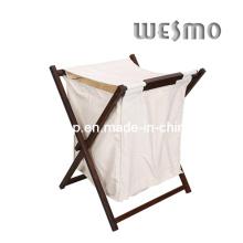 Madeira de borracha lavanderia acessórios de banho cesta (wwr0501b)