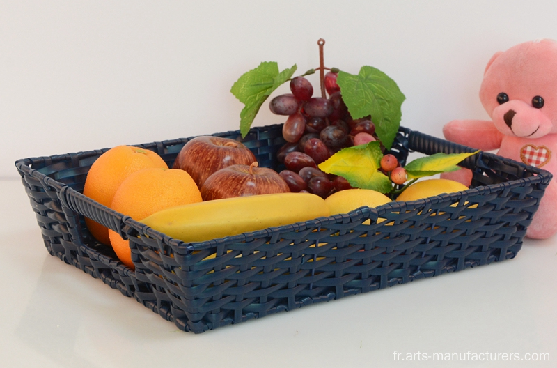 Corbeille à fruits en plastique rectangulaire en rotin