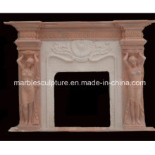 Natural Stone Lady Statue Carved Marble Fireplace (SY-MF208)