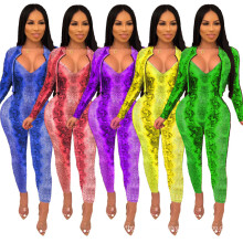 C4014 Fashion fall clothing long sleeve two piece jumpsuit set two piece outfit clothing set women