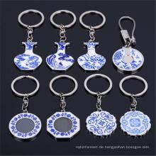 Neues Produkt Blau und Weiß Porzellan Schlüsselbund für Geschenke