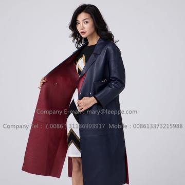 Kvinnor Long Sheepskin Leather Coat